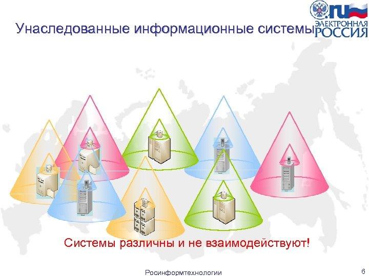 Унаследованные информационные системы Системы различны и не взаимодействуют! Росинформтехнологии 6