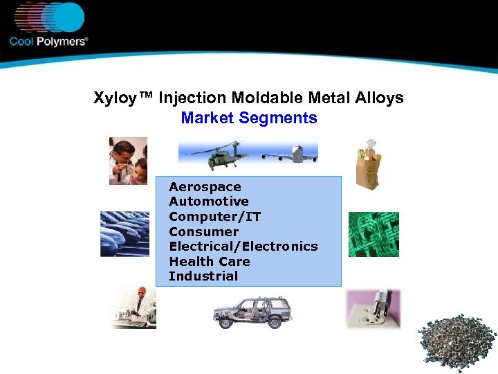 Xyloy™ Injection Moldable Metal Alloys Market Segments Aerospace Automotive Computer/IT Consumer Electrical/Electronics Health Care