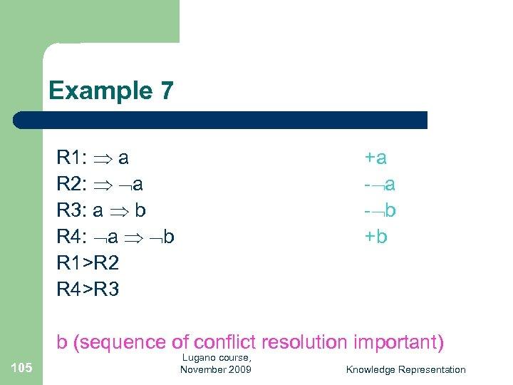 Example 7 R 1: a R 2: a R 3: a b R 4: