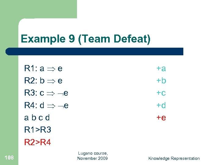 Example 9 (Team Defeat) R 1: a e R 2: b e R 3: