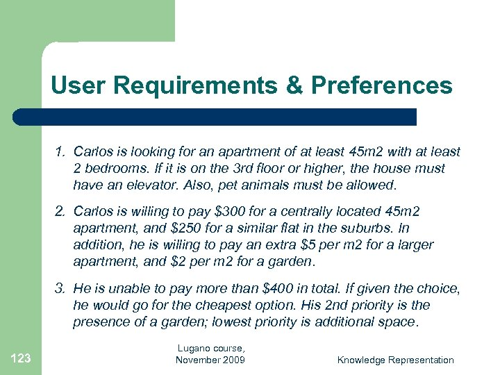 User Requirements & Preferences 1. Carlos is looking for an apartment of at least