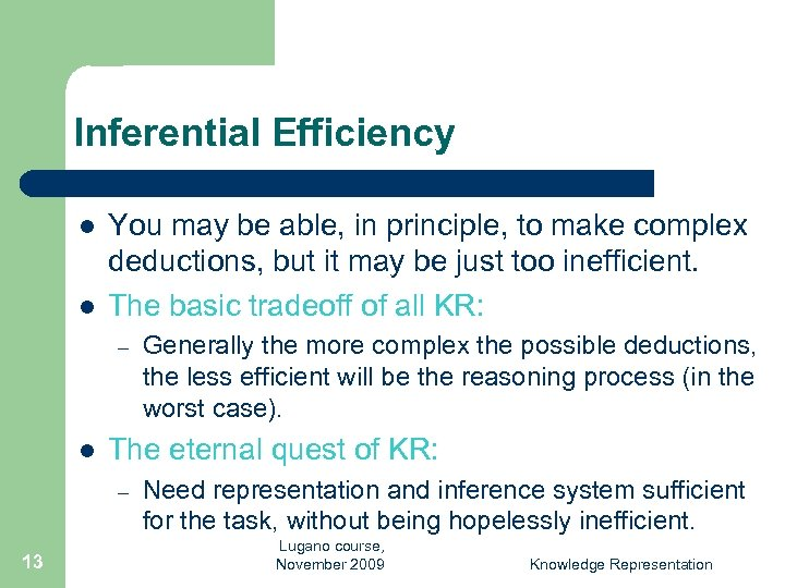 Inferential Efficiency l l You may be able, in principle, to make complex deductions,