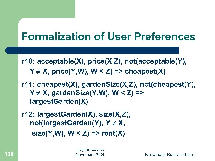 Formalization of User Preferences r 10: acceptable(X), price(X, Z), not(acceptable(Y), Y X, price(Y, W),