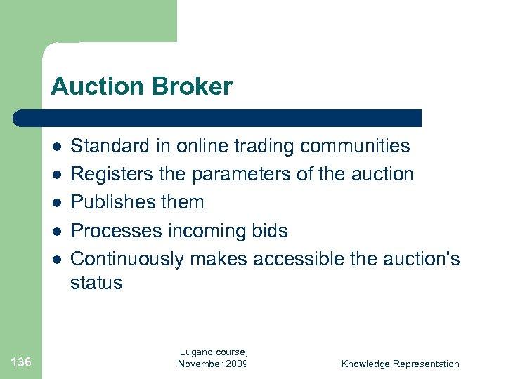 Auction Broker l l l 136 Standard in online trading communities Registers the parameters