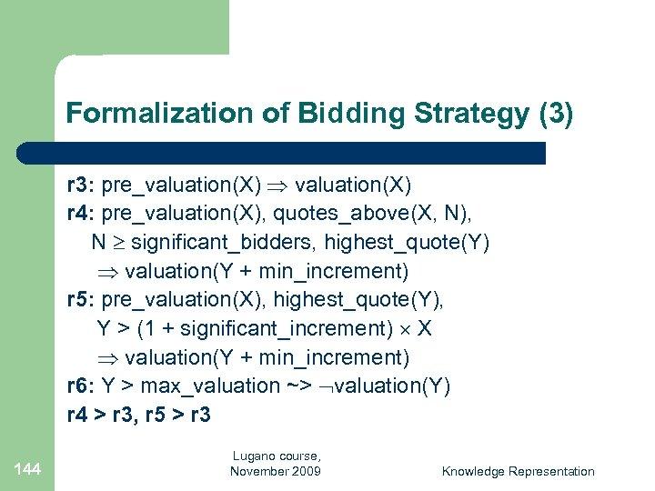 Formalization of Bidding Strategy (3) r 3: pre_valuation(X) r 4: pre_valuation(X), quotes_above(X, N), N
