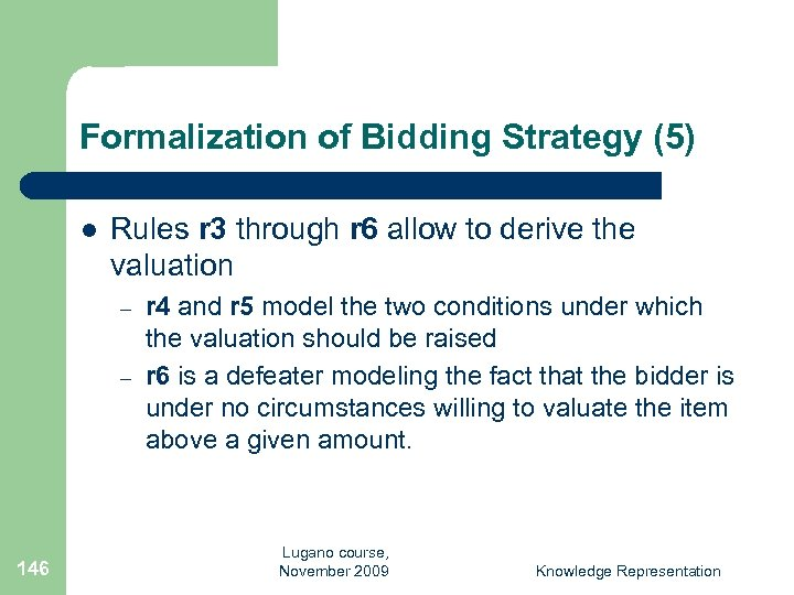 Formalization of Bidding Strategy (5) l Rules r 3 through r 6 allow to