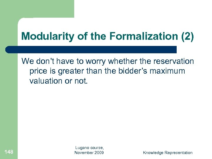 Modularity of the Formalization (2) We don't have to worry whether the reservation price