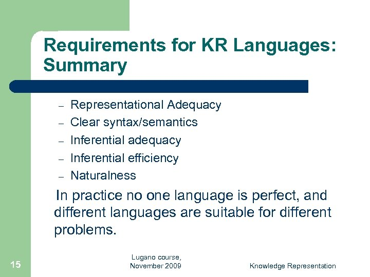 Requirements for KR Languages: Summary – – – Representational Adequacy Clear syntax/semantics Inferential adequacy