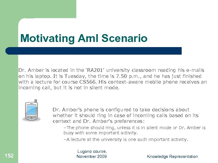 Motivating Am. I Scenario Dr. Amber is located in the 'RA 201' university classroom