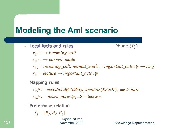 Modeling the Am. I scenario – Local facts and rules r 11 l :