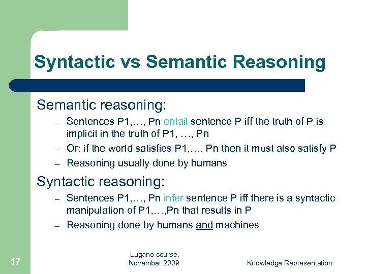 Syntactic vs Semantic Reasoning Semantic reasoning: – – – Sentences P 1, …, Pn
