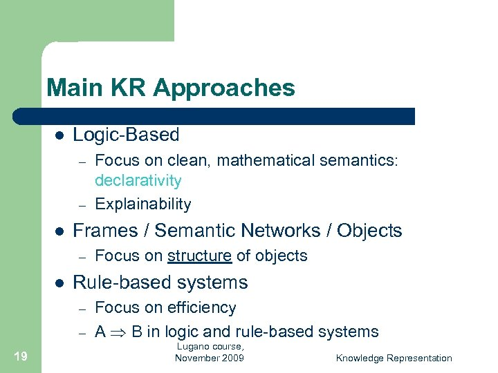 Main KR Approaches l Logic-Based – – l Frames / Semantic Networks / Objects