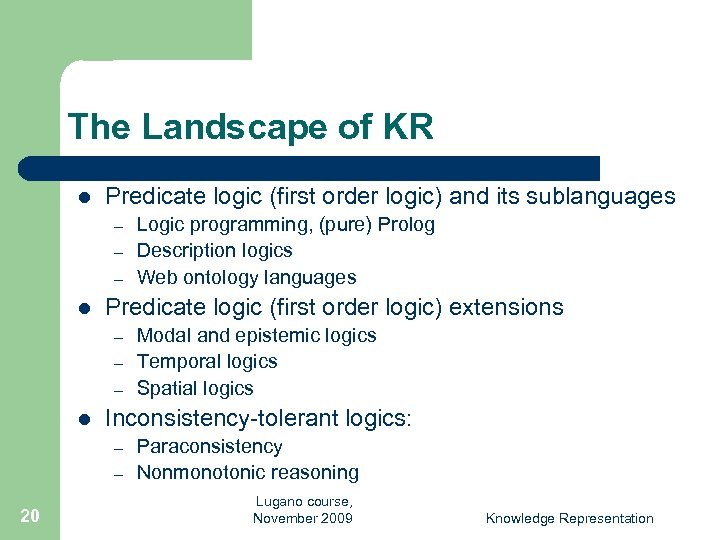 The Landscape of KR l Predicate logic (first order logic) and its sublanguages –