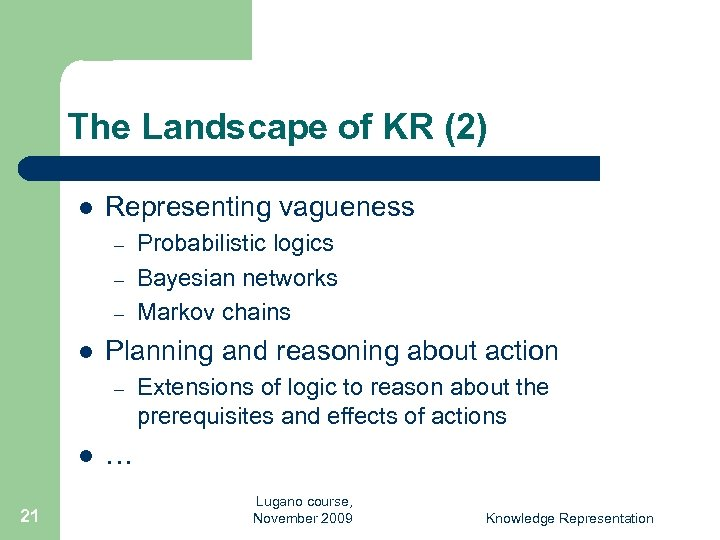 The Landscape of KR (2) l Representing vagueness – – – l Planning and