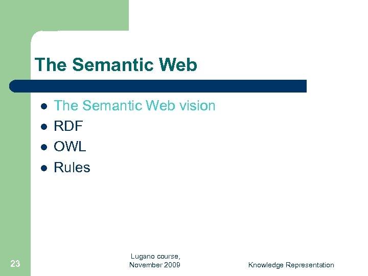 The Semantic Web l l 23 The Semantic Web vision RDF OWL Rules Lugano