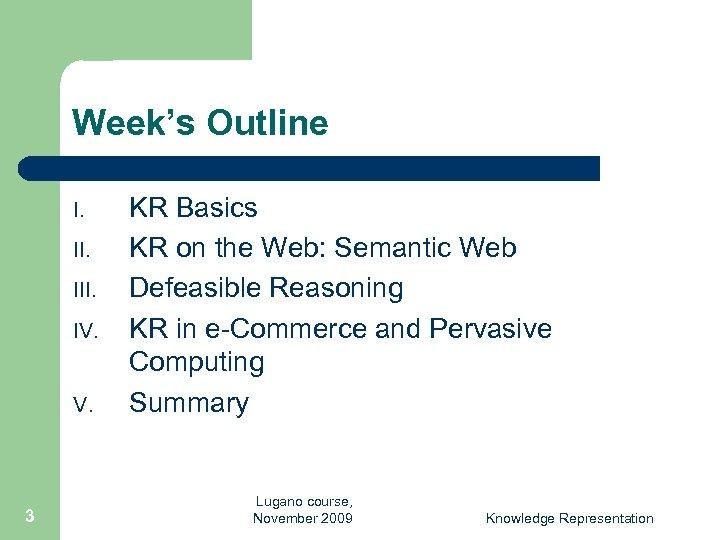 Week's Outline I. III. IV. V. 3 KR Basics KR on the Web: Semantic