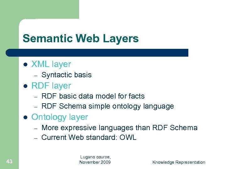 Semantic Web Layers l XML layer – l RDF layer – – l RDF