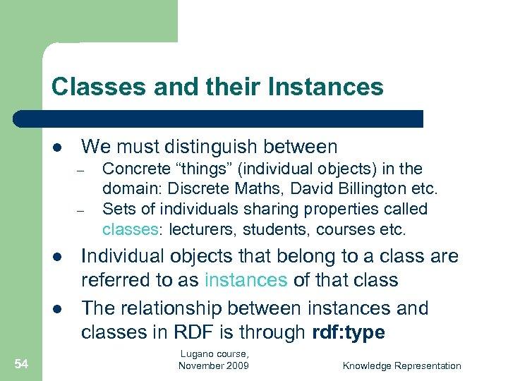 Classes and their Instances l We must distinguish between – – l l 54