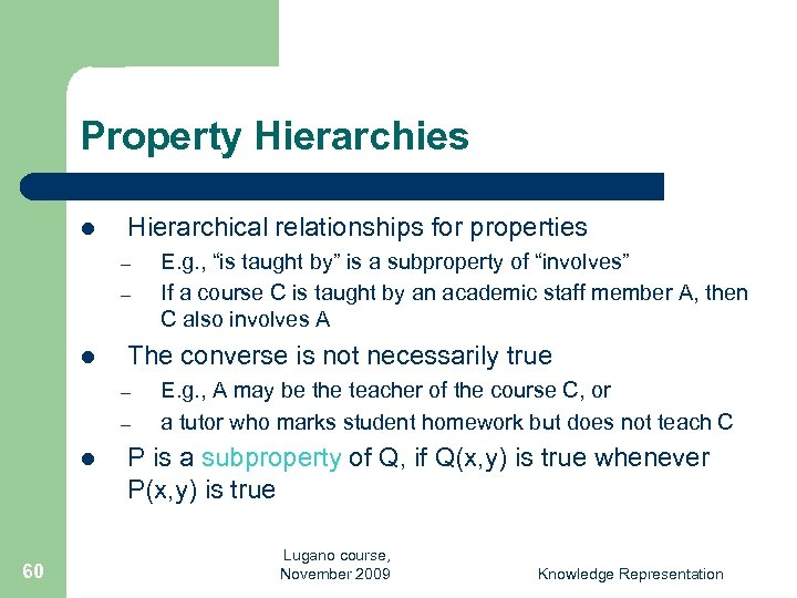 Property Hierarchies l Hierarchical relationships for properties – – l The converse is not