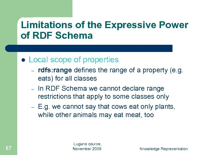 Limitations of the Expressive Power of RDF Schema l Local scope of properties –