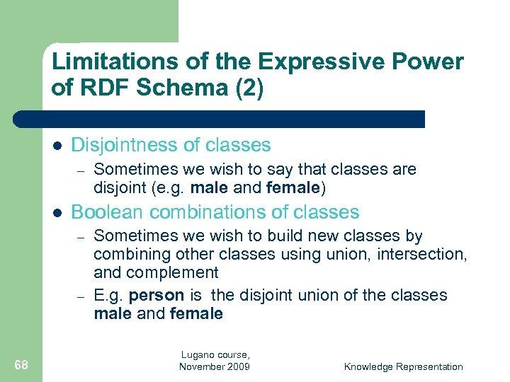 Limitations of the Expressive Power of RDF Schema (2) l Disjointness of classes –