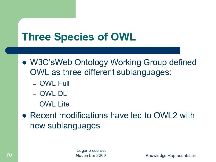 Three Species of OWL l W 3 C's. Web Ontology Working Group defined OWL