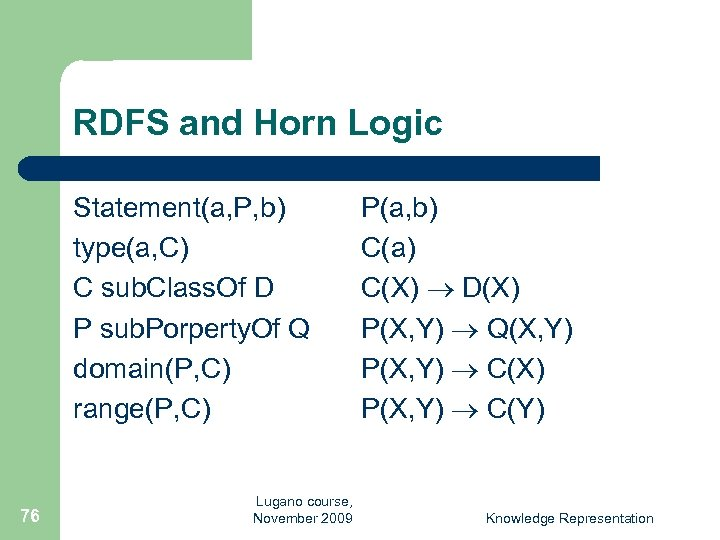 RDFS and Horn Logic Statement(a, P, b) type(a, C) C sub. Class. Of D