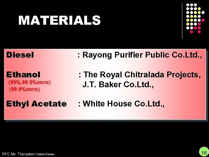 MATERIALS Diesel : Rayong Purifier Public Co. Ltd. , Ethanol : The Royal Chitralada