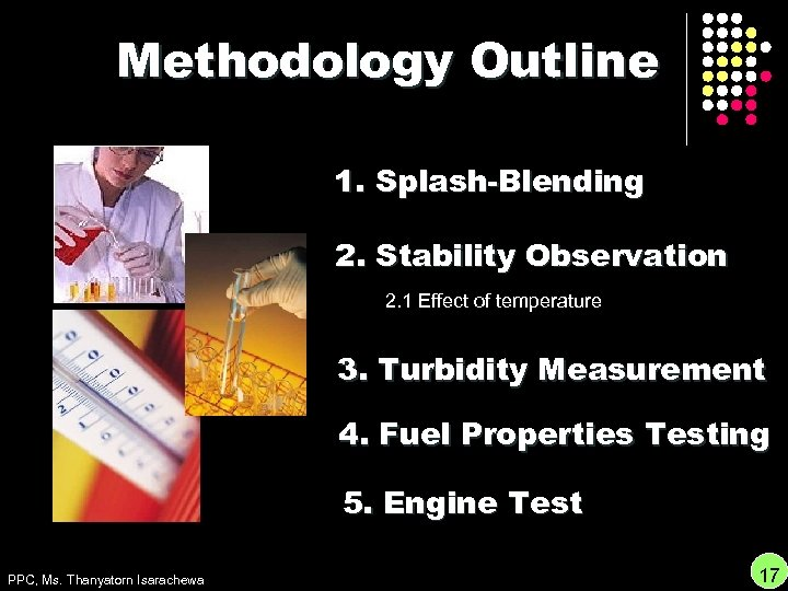 Methodology Outline 1. Splash-Blending 2. Stability Observation 2. 1 Effect of temperature 3. Turbidity