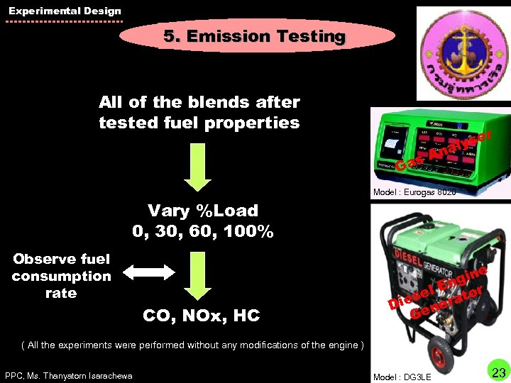 Experimental Design 5. Emission Testing All of the blends after tested fuel properties r