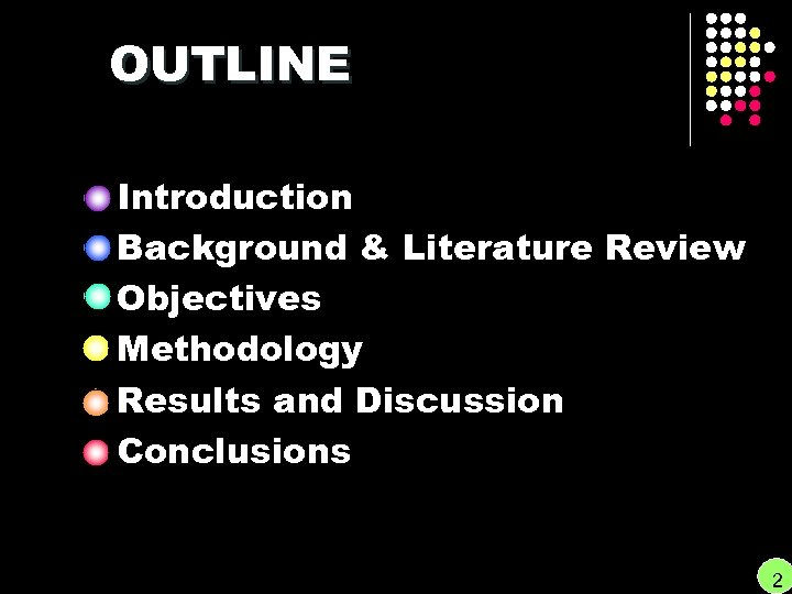 OUTLINE Introduction Background & Literature Review Objectives Methodology Results and Discussion Conclusions 2