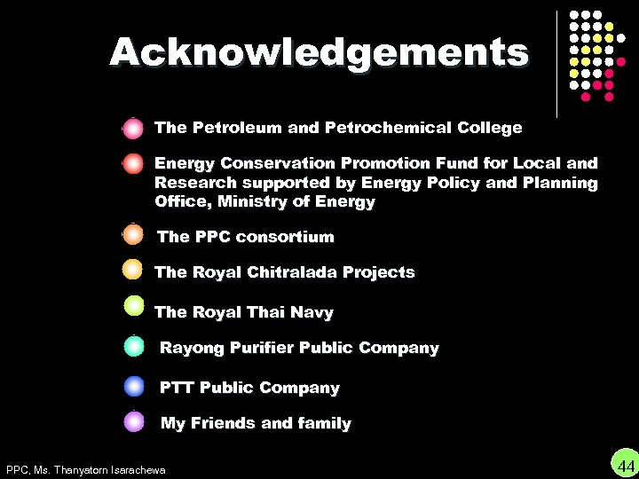 Acknowledgements The Petroleum and Petrochemical College Energy Conservation Promotion Fund for Local and Research
