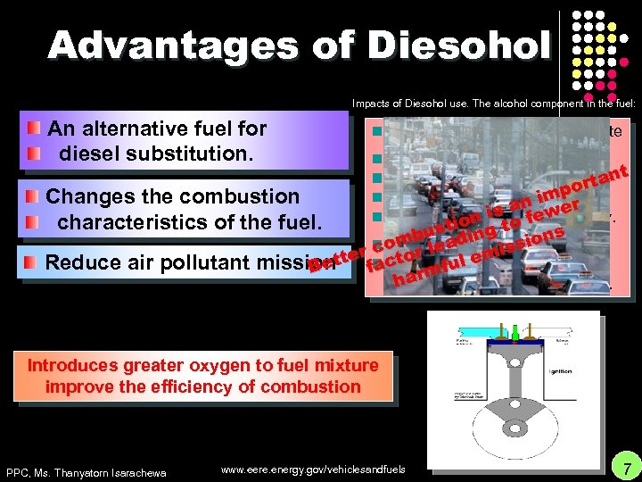 Advantages of Diesohol Impacts of Diesohol use. The alcohol component in the fuel: An