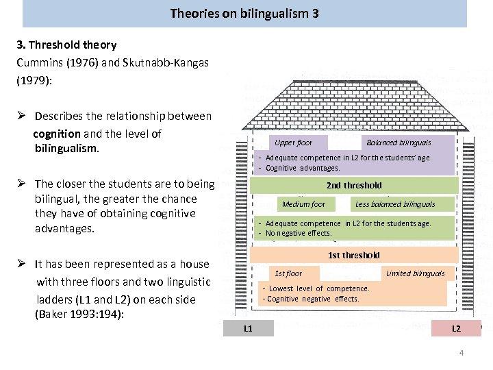 Theories on bilingualism 3 3. Threshold theory Cummins (1976) and Skutnabb-Kangas (1979): Ø Describes
