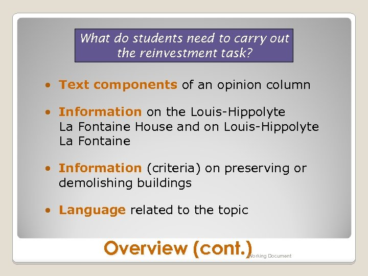 What do students need to carry out the reinvestment task? • Text components of