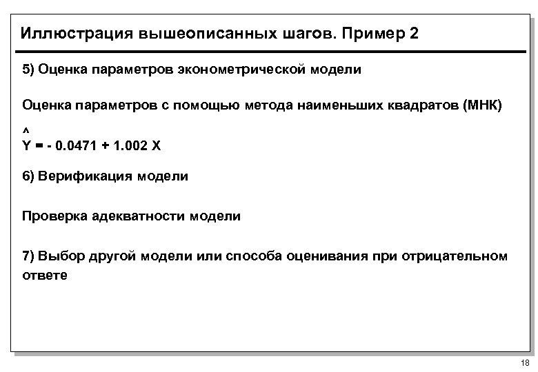 Иллюстрация вышеописанных шагов. Пример 2 5) Оценка параметров эконометрической модели Оценка параметров с помощью