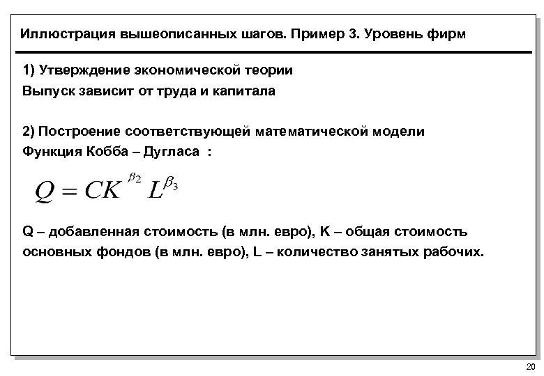 Иллюстрация вышеописанных шагов. Пример 3. Уровень фирм 1) Утверждение экономической теории Выпуск зависит от