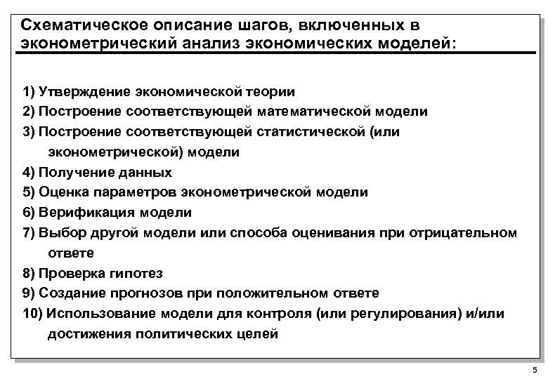 Схематическое описание шагов, включенных в эконометрический анализ экономических моделей: 1) Утверждение экономической теории 2)