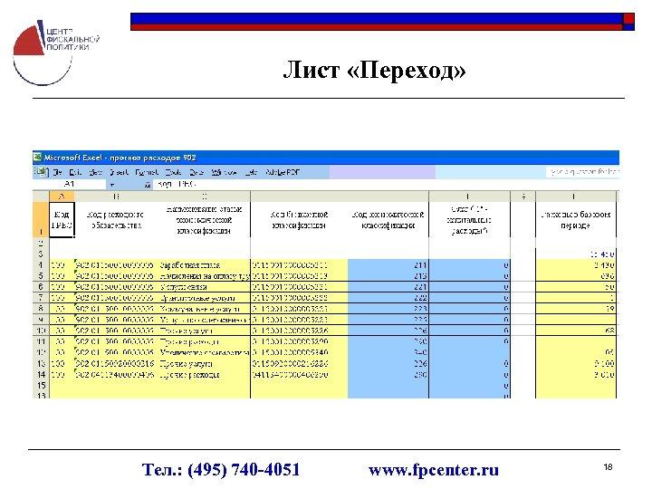 Лист «Переход» Тел. : (495) 740 -4051 www. fpcenter. ru 18