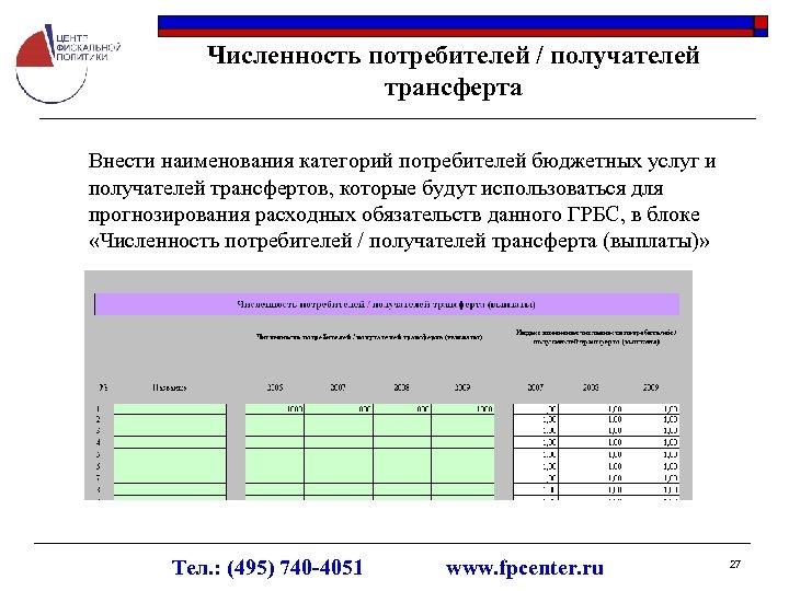 Численность потребителей / получателей трансферта Внести наименования категорий потребителей бюджетных услуг и получателей трансфертов,