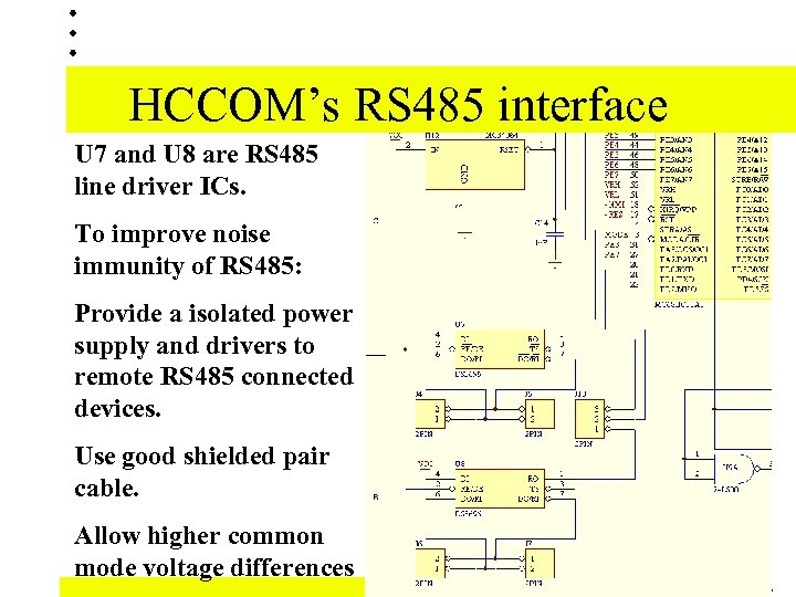 HCCOM's RS 485 interface U 7 and U 8 are RS 485 line driver