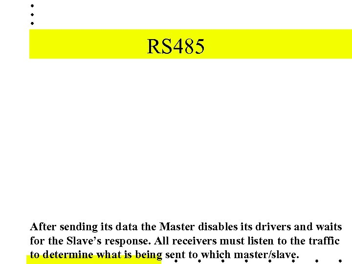 RS 485 After sending its data the Master disables its drivers and waits for