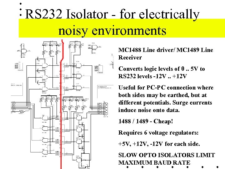 RS 232 Isolator - for electrically noisy environments MC 1488 Line driver/ MC 1489