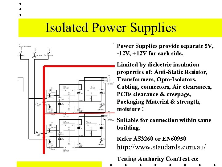 Isolated Power Supplies provide separate 5 V, -12 V, +12 V for each side.