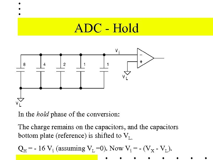 ADC - Hold In the hold phase of the conversion: The charge remains on