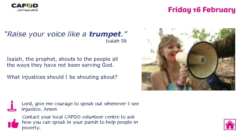 """""""Raise your voice like a trumpet. """" Isaiah 58 Isaiah, the prophet, shouts to"""