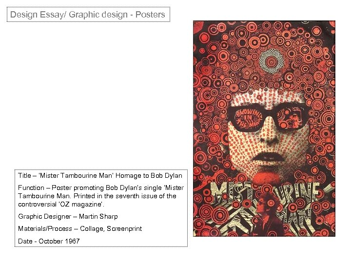 Design Essay/ Graphic design - Posters Title – 'Mister Tambourine Man' Homage to Bob