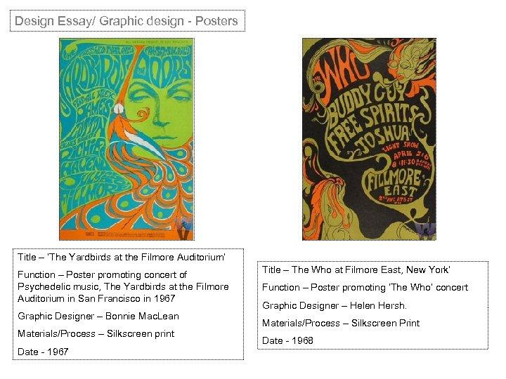 Design Essay/ Graphic design - Posters Title – 'The Yardbirds at the Filmore Auditorium'