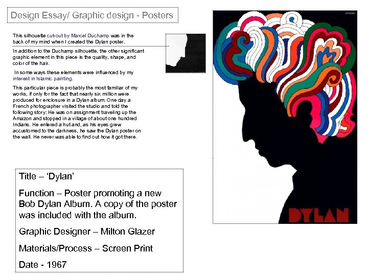 Design Essay/ Graphic design - Posters This silhouette cut-out by Marcel Duchamp was in