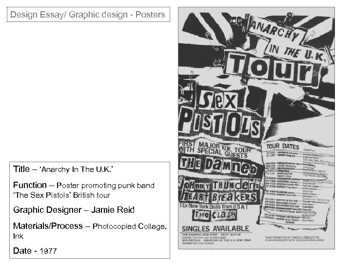 Design Essay/ Graphic design - Posters Title – 'Anarchy In The U. K. '